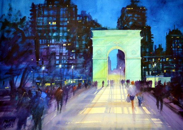 Washington Square N.Y. . Original watercolour by Martin Oates