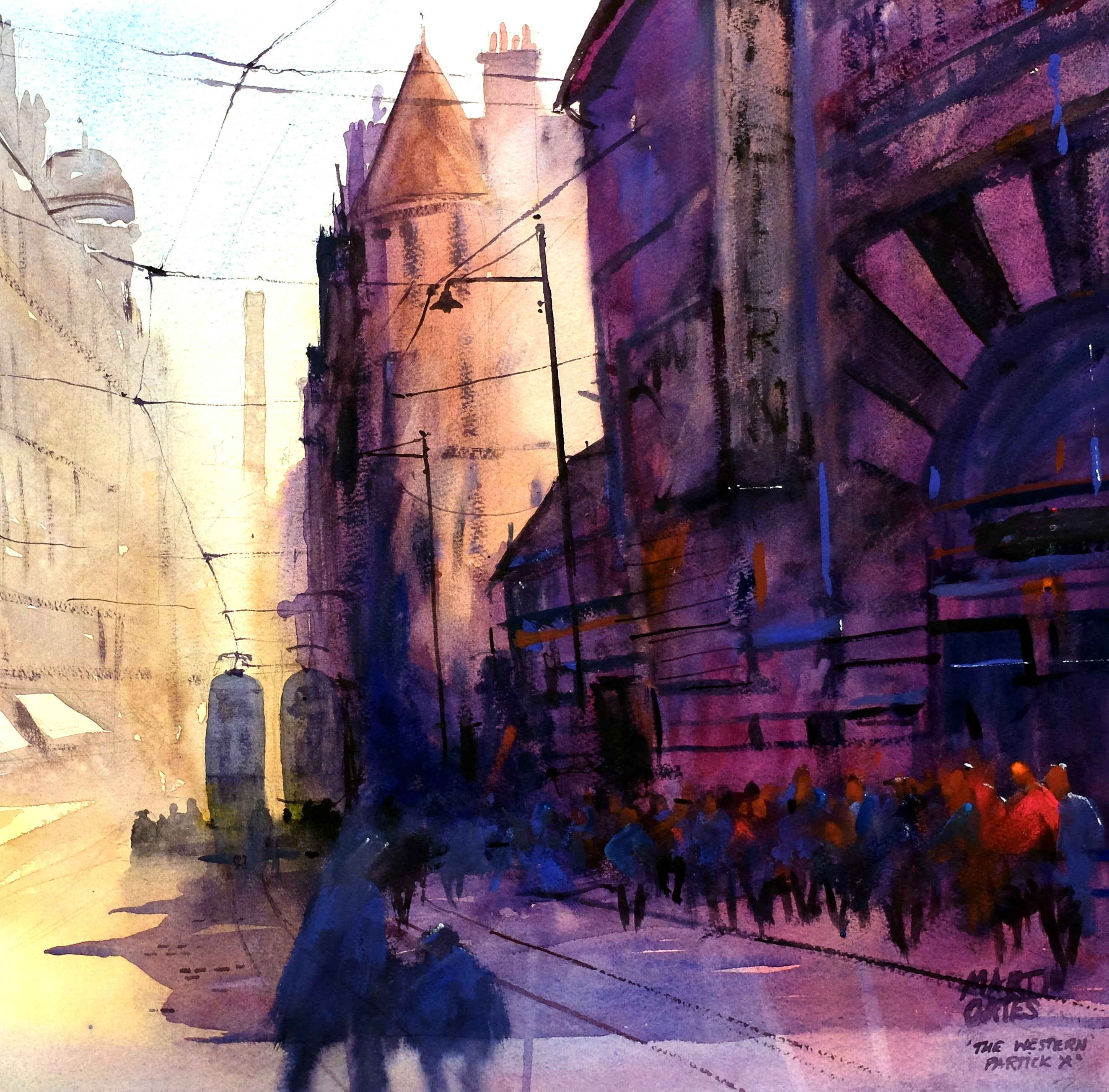 The Western Cinema Partick X  . Original watercolour by Martin Oates 48 x 48cm