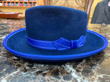 Royal Blue Felt Fur w/White Stitch Detailing