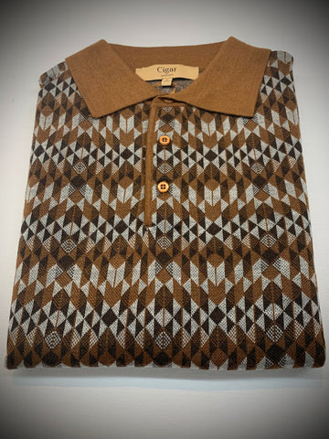 BROWN MULTICOLORED LONG SLEEVE SWEATER