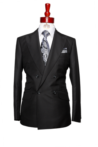 Made to Measure 4-Button Double Breasted Black Textured Suit