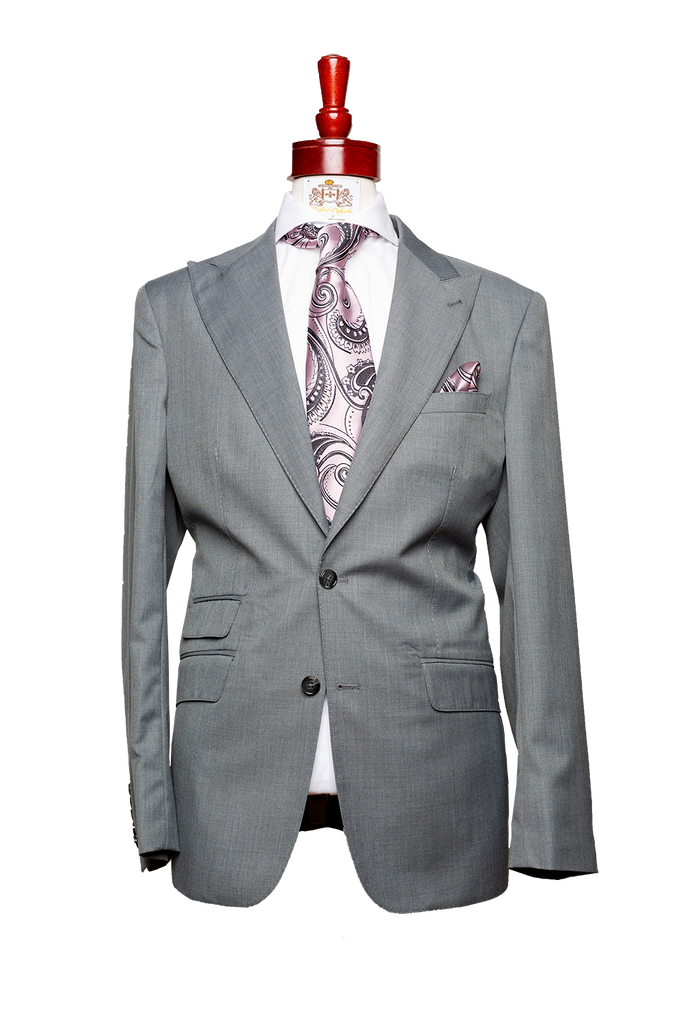 Made to Measure 2-Button Gray Gaberdine Suit