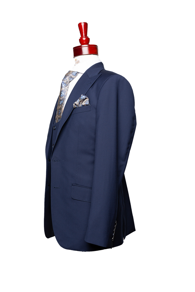 Made to Measure 2-Button Three Piece Light Navy Plain Gaberdine Suit