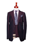Made to Measure 2-Button Three Piece Burgundy Iridescent Suit