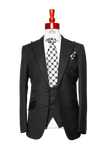 Made to Measure 2-Button Three Piece Houndstooth Black Suit