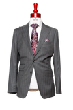 Made to Measure 2-Button Gray Suit with Wine Stripes