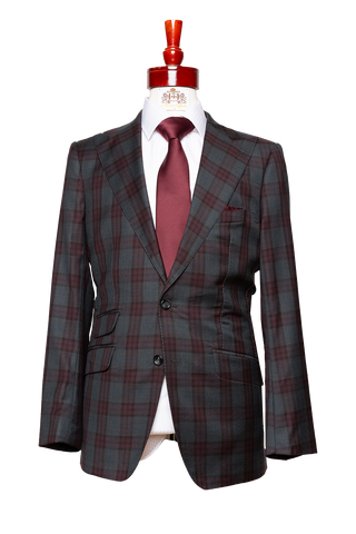 Made to Measure 2-Button Charcoal with Wine Checkered Plaid Suit