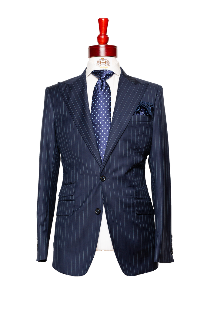 Made To Measure 2-Button Navy Blue Pinstripe