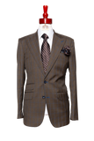 Made to Measure 2-Button Two Piece Brown with Blue Checkered Plaid