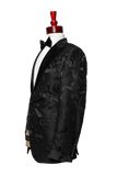 Made to Measure 2-button Black Floral Tuxedo Jacket W/Sleeve Cuff
