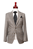 Made to Measure 2-Button Tan with Dark Brown Bold Check Suit