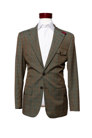 Made to Measure 2-Button Olive Green Multicolor Checkered Plaid Sport Jacket