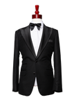 Made to Measure 2-Button Black Textured Tuxedo Jacket with Pants