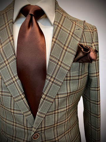 BROWN CHECKERED WINDOWPANE