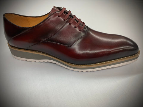 Burgundy Leather with White Sole