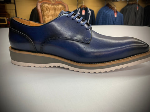 Blue Leather with White Sole