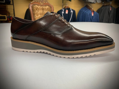 Brown Leather with White Sole