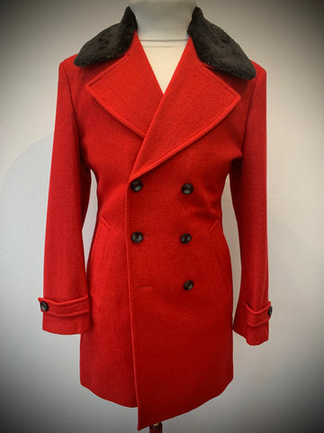 Red Top Coat with Detachable Black Fur