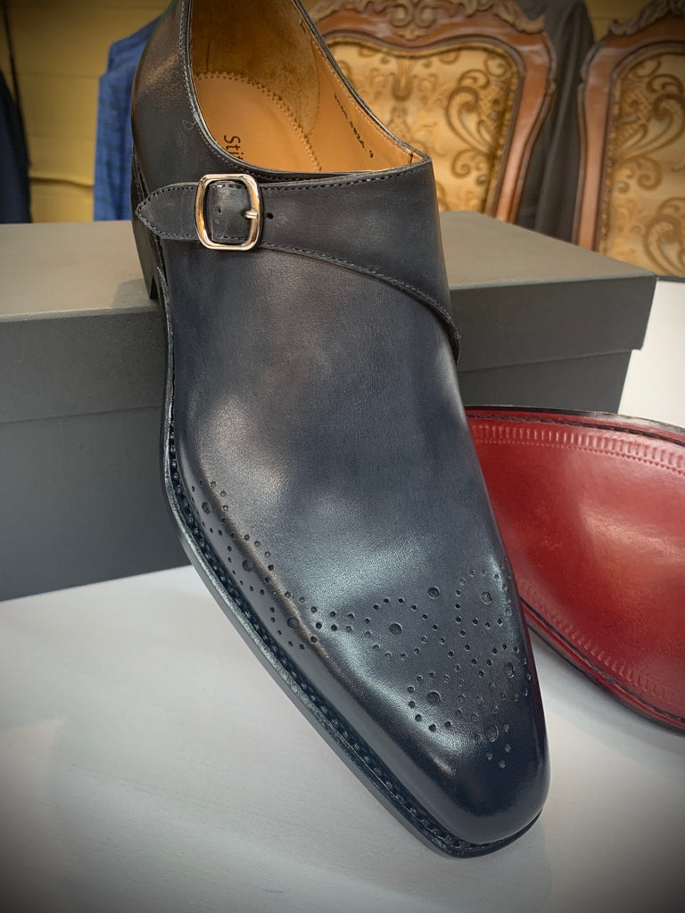Gray Monkstrap with Red Bottom