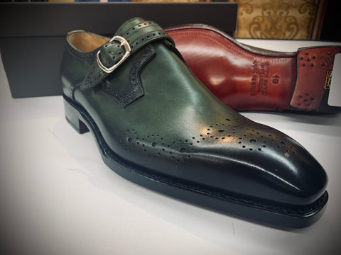Olive Green Monkstrap with Red Bottom