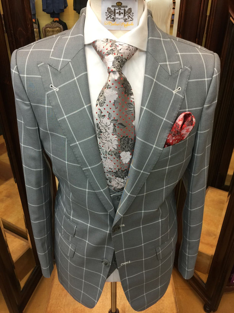 Gray Windowpane with Vest and Pleated Pant