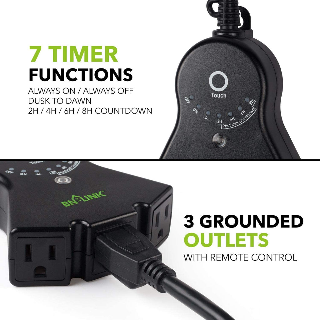 BN-LINK Outdoor 24-Hour Water Resistant Countdown Timer With Photocell Light Sensor - BN-LINK