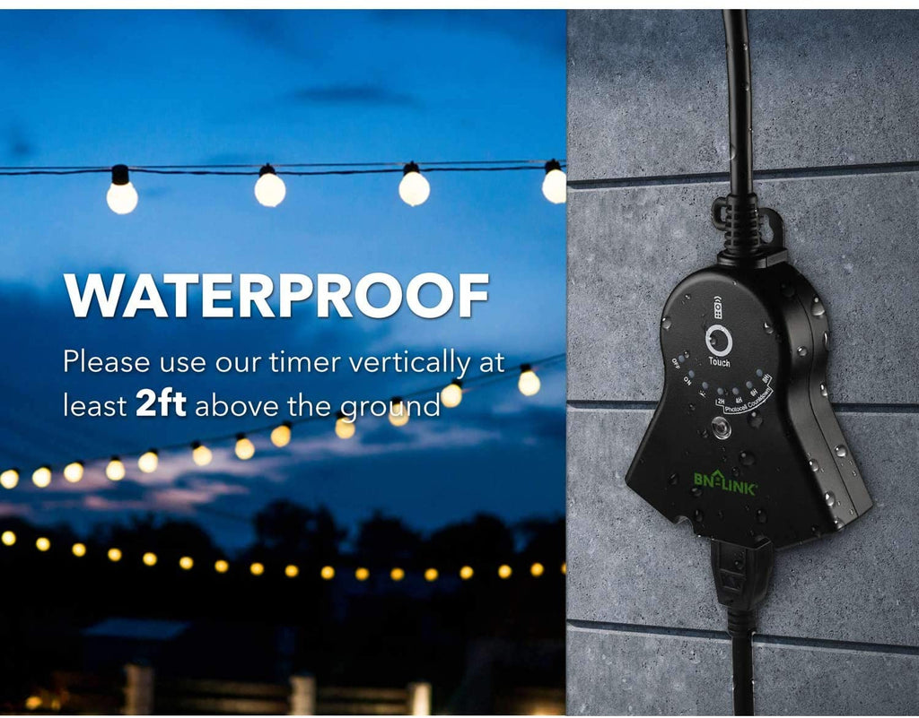 BN-LINK Outdoor 24-Hour Water Resistant Timer With Photocell Light Sensor (2, 4, 6 or 8 Hours Countdown Mode) - BN-LINK