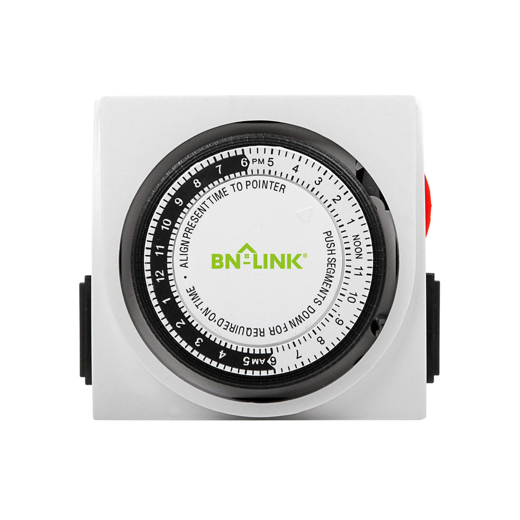 BN-LINK Heavy Duty Mechanical Timer Dual Outlet - 24 Hours