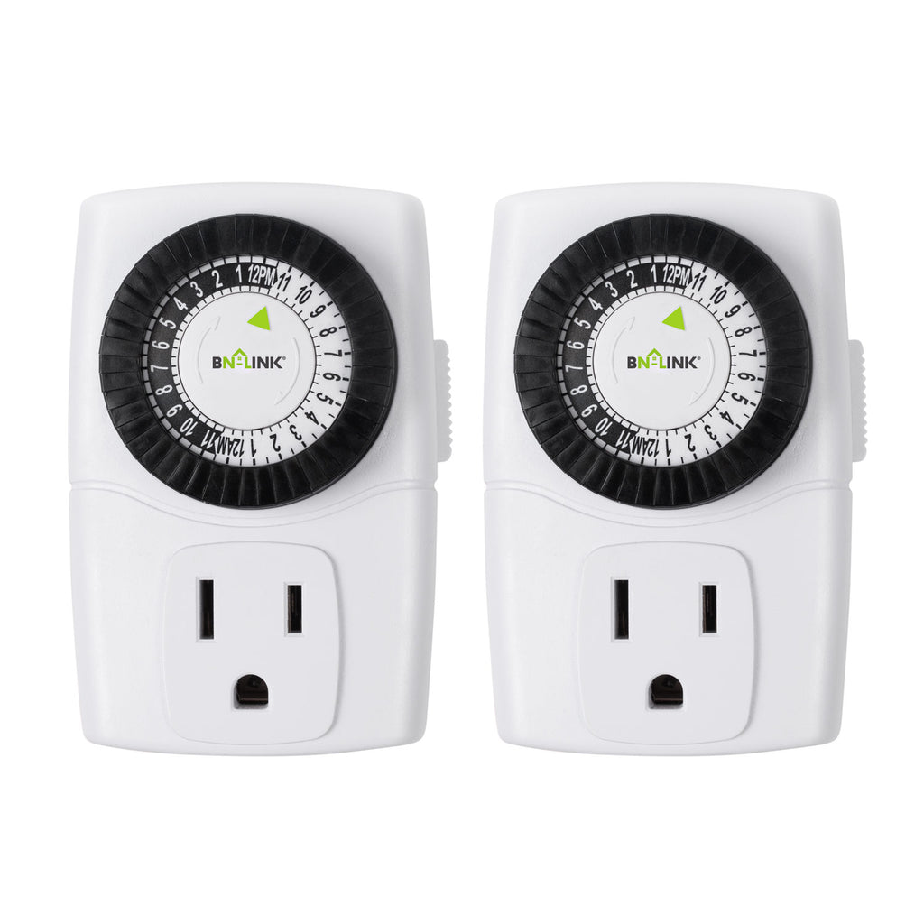 BN-LINK Indoor 24-Hour Mechanical Outlet Timer, 3 Prong, 2-Pack