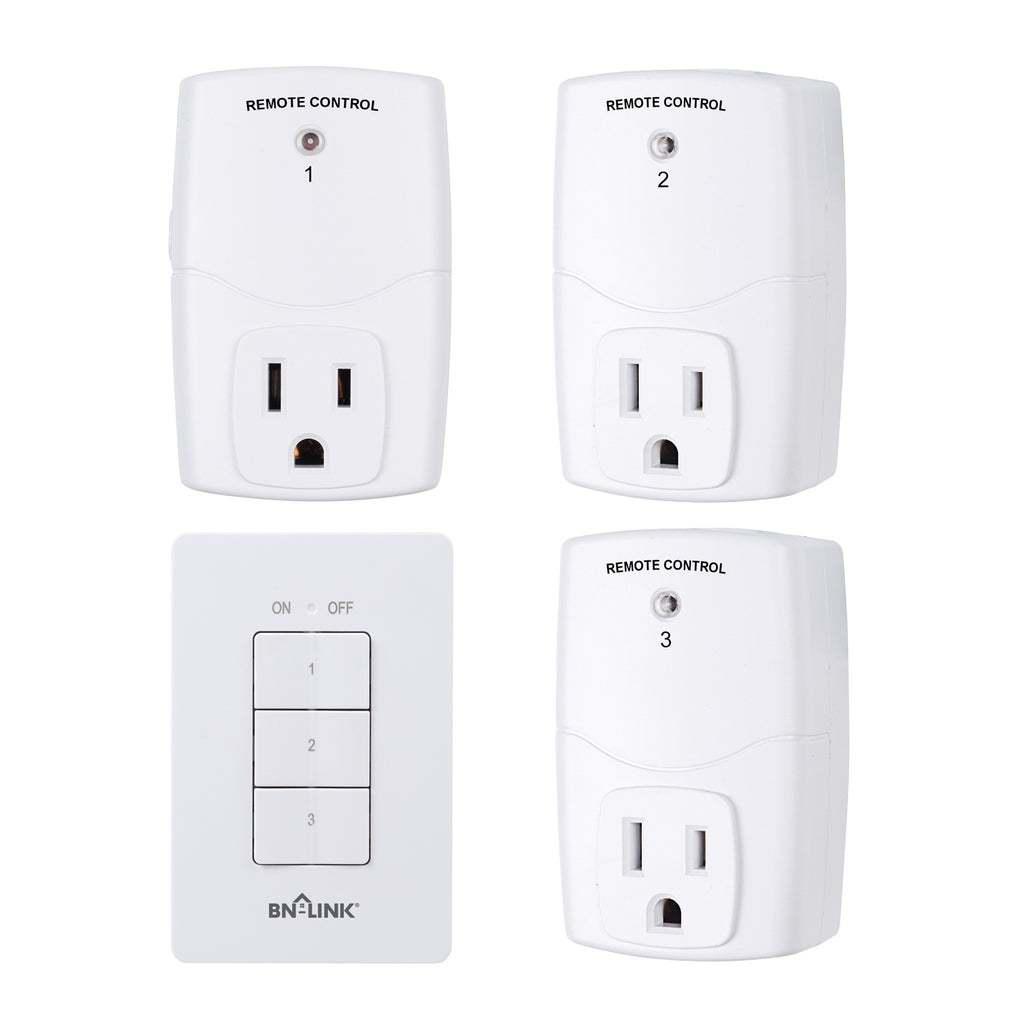 BN-LINK Mini Wireless Wall-Mounting Remote Control Outlet Switch Power Plug In for Household Appliances, Wireless Remote Light Switch, LED Light Bulbs, White (3 Outlets)