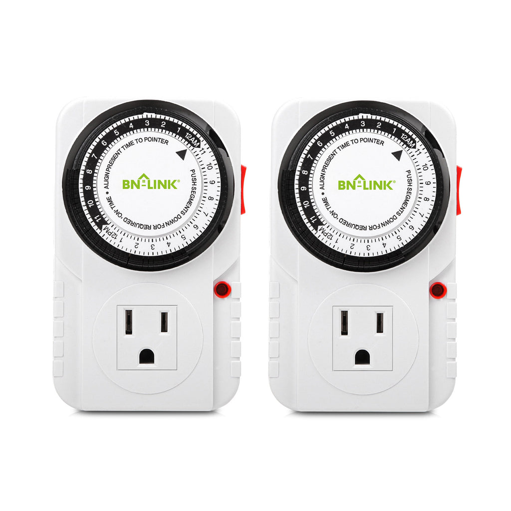 BN-LINK 24 Hour Plug-in Mechanical Timer Grounded 2 Pack - BN-LINK
