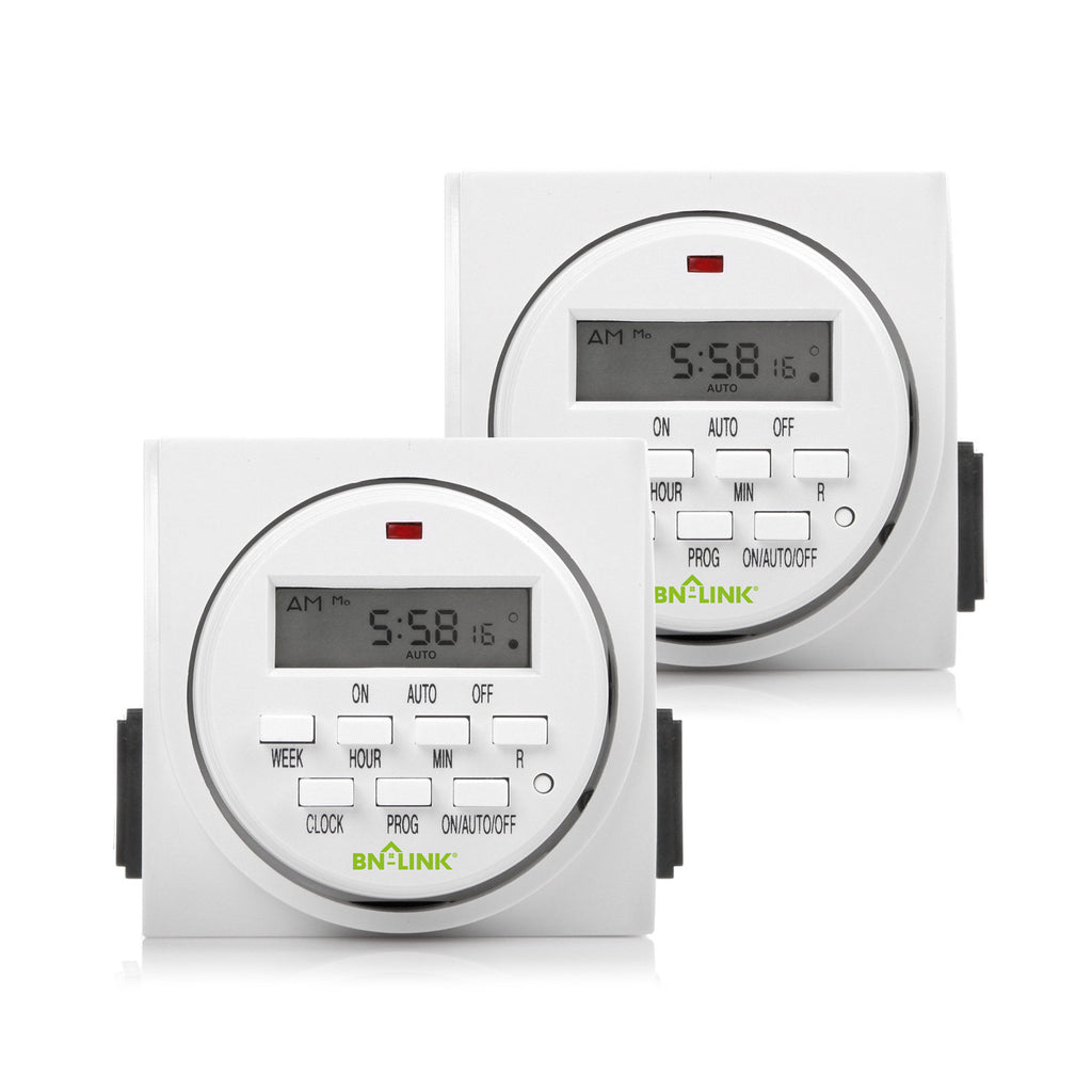 BN-LINK 7 Day Heavy Duty Digital Programmable Timer - Dual Outlet (Single Control) - 2 Pack - BN-LINK