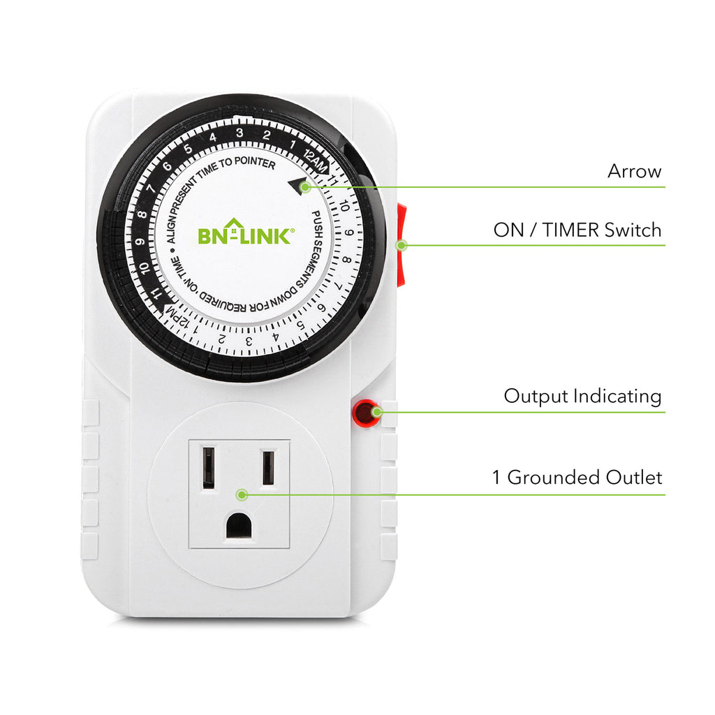 BN-LINK 24 Hour Plug-in Mechanical Timer Grounded