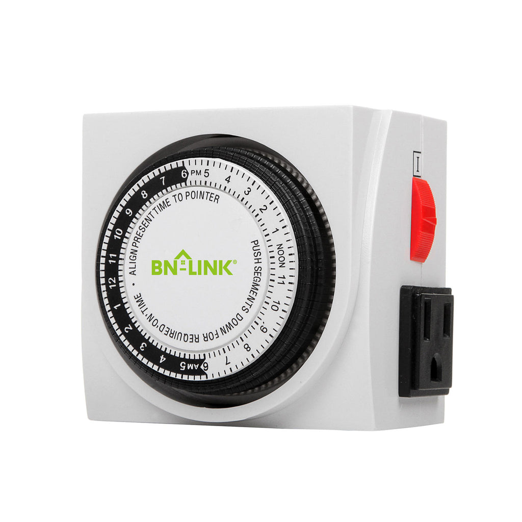 BN-LINK Heavy Duty Mechanical Timer Dual Outlet - 24 Hours - BN-LINK