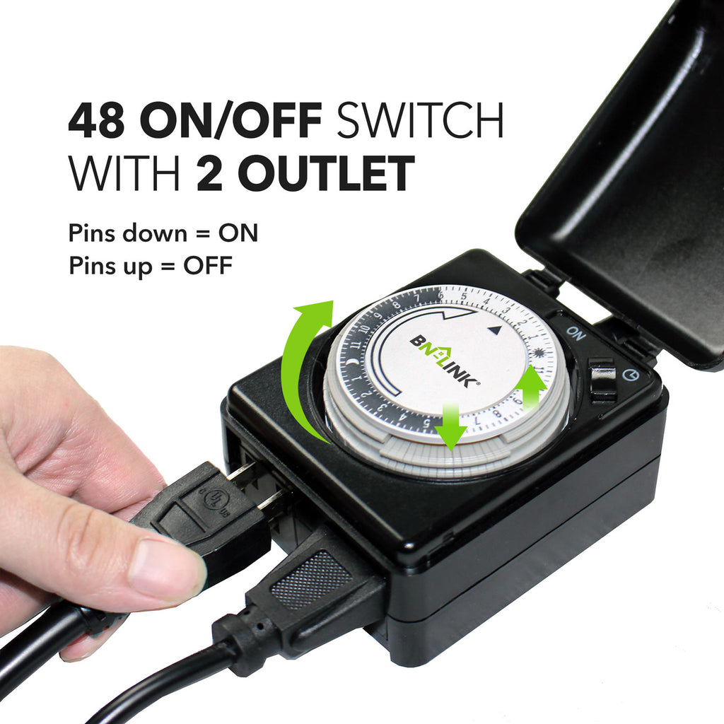 BN-LINK Compact Outdoor Mechanical 24 Hour Programmable Dual Outlet Timer-Plug in, Waterproof, Heavy Duty
