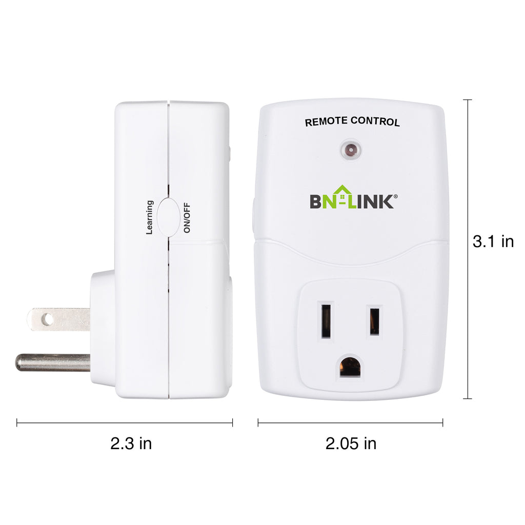 BN-LINK Mini Wireless Remote Control Outlet Switch Power Plug In for Household Appliances, Wireless Remote Light Switch,(2 Remotes+5 Outlets) - BN-LINK