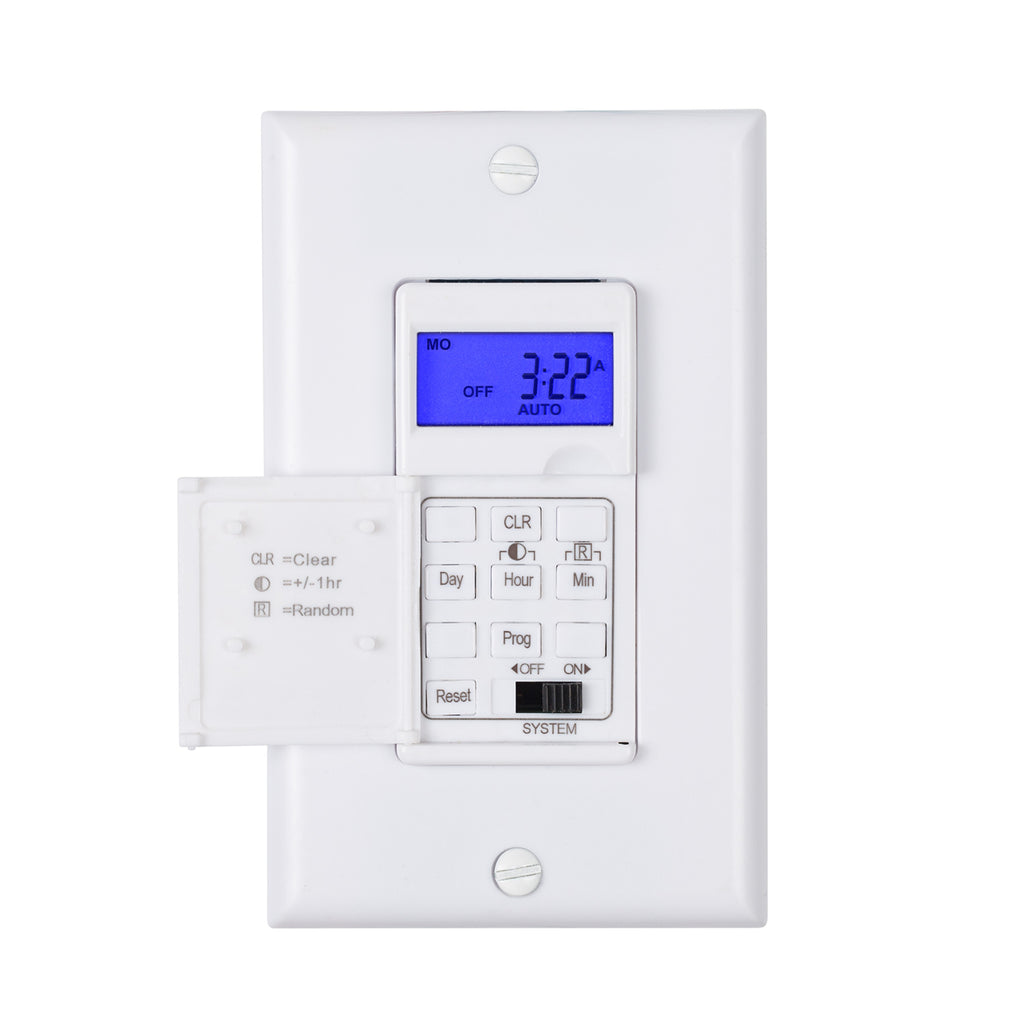 BN-LINK 7 Day Programmable In-Wall Timer Switch for Lights, fans and Motors, Single Pole and 3 Way Both Use, Neutral Wire Required, White (Backlight) - BN-LINK