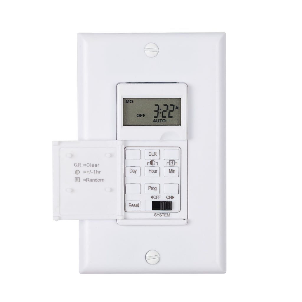BN-LINK 7 Day Programmable In-Wall Timer Switch for Lights, fans and Motors, Single Pole and 3 Way Both Use, Neutral Wire Required, White - BN-LINK