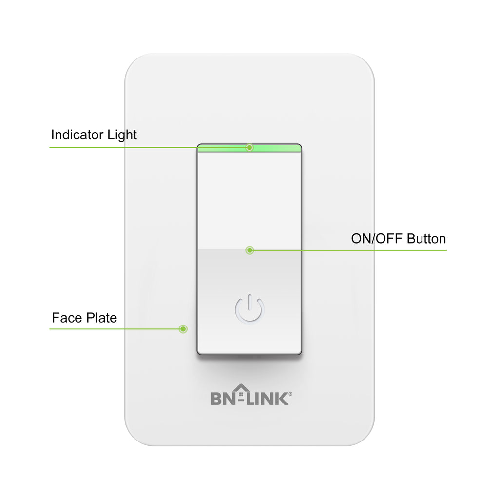 BN-LINK Smart In Wall Light Switch with Remote Control and Timer Function,Compatible with Alexa/Google Assistant/IFTTT, No Hub Required