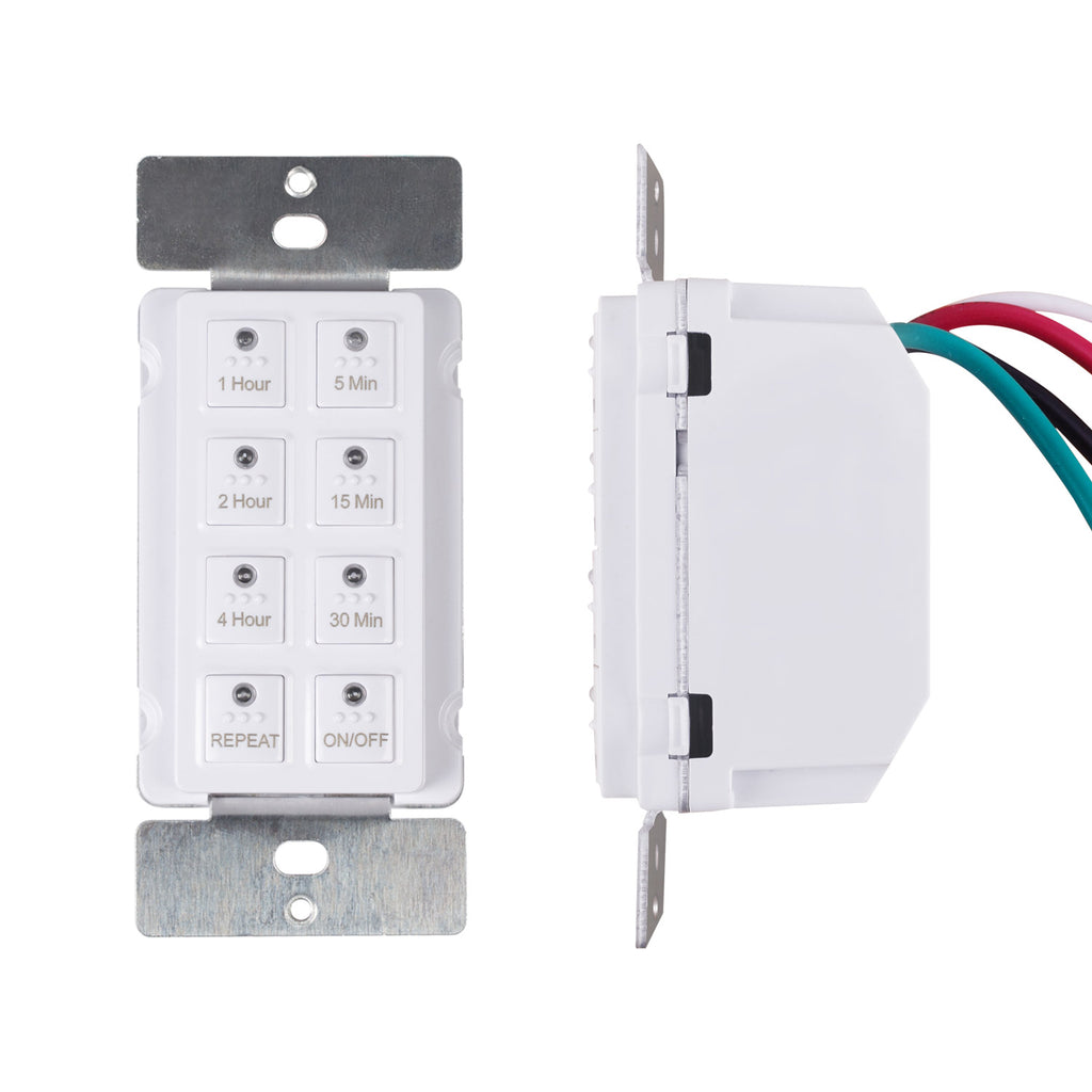 BN-LINK Countdown Digital In-wall Timer Switch 5-15-30-60mins, 2-4hours, Neutral Required, Free Wall Plate, white