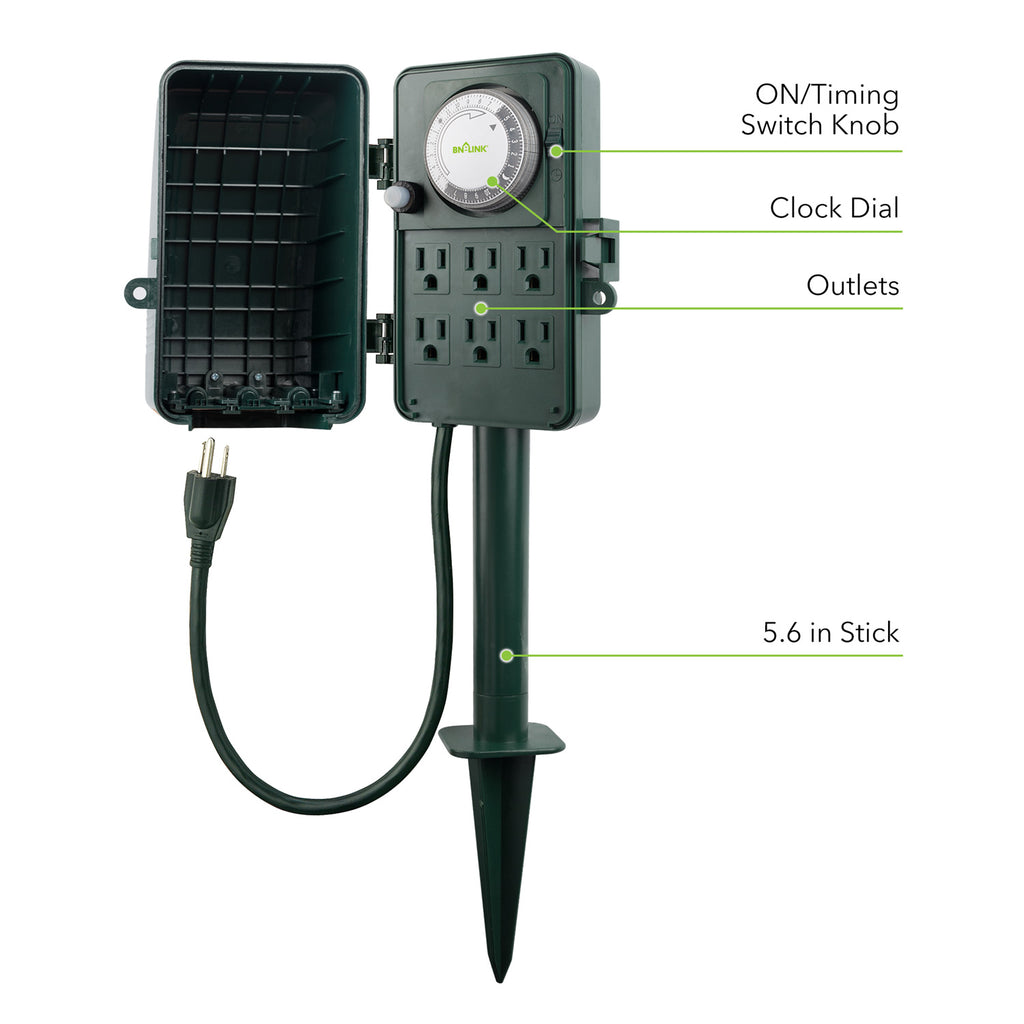 BN-LINK 24 Hour Mechanical Outdoor Multi Socket Timer, 6 Outlet Garden Power Stake - BN-LINK