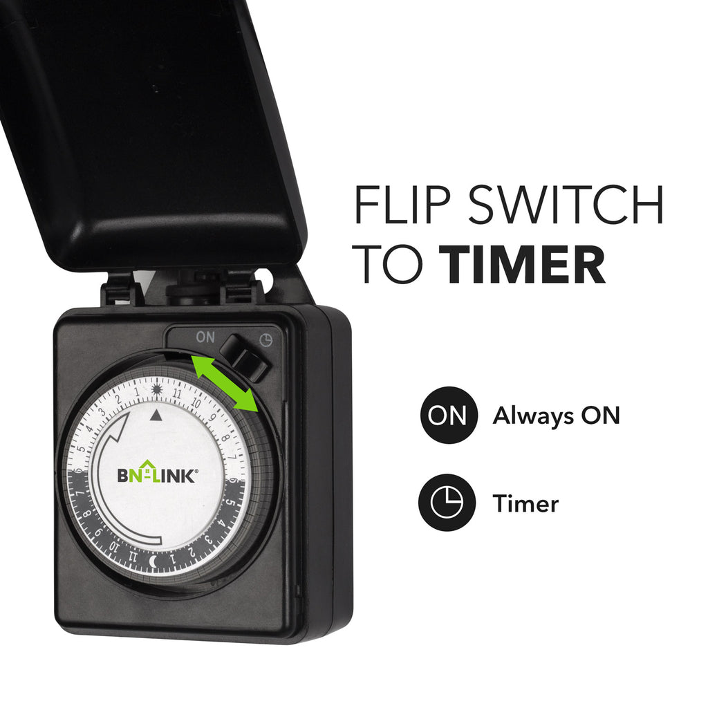 BN-LINK Compact Outdoor Mechanical 24 Hour Programmable Dual Outlet Timer-Plug in, Waterproof, Heavy Duty - BN-LINK