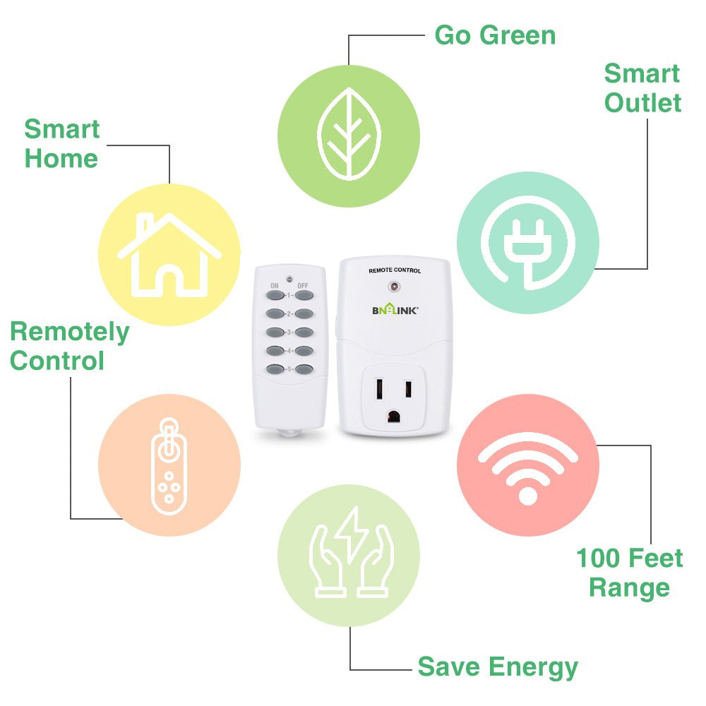 BN-LINK Mini Wireless Remote Control Outlet Switch Power