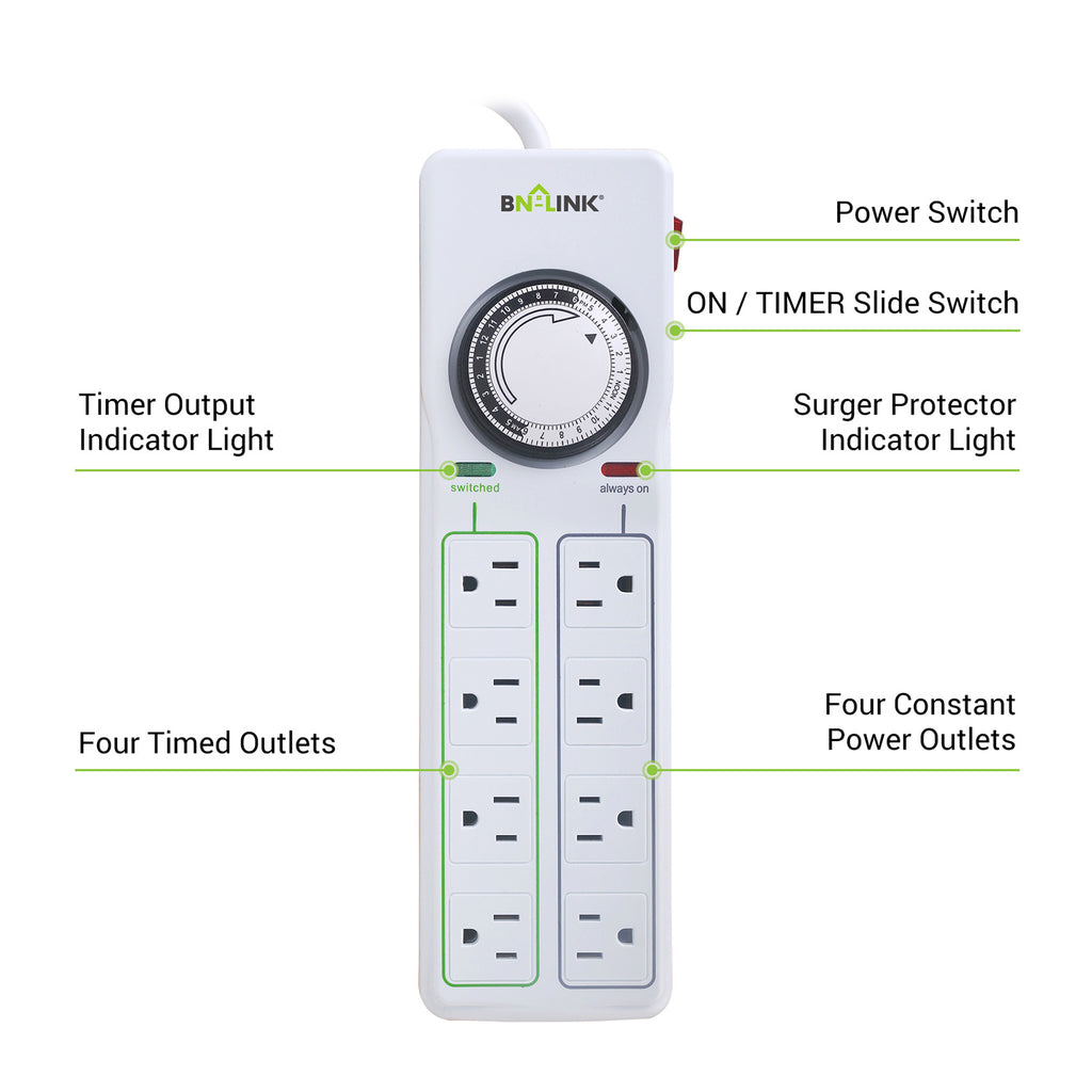 BN-LINK Surge Protector with 8 Outlets & Timer - BN-LINK