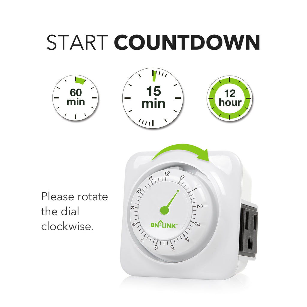 BN-LINK 12 Hour Mechanical Countdown Timer with Grounded Pin - Energy Saving - BN-LINK