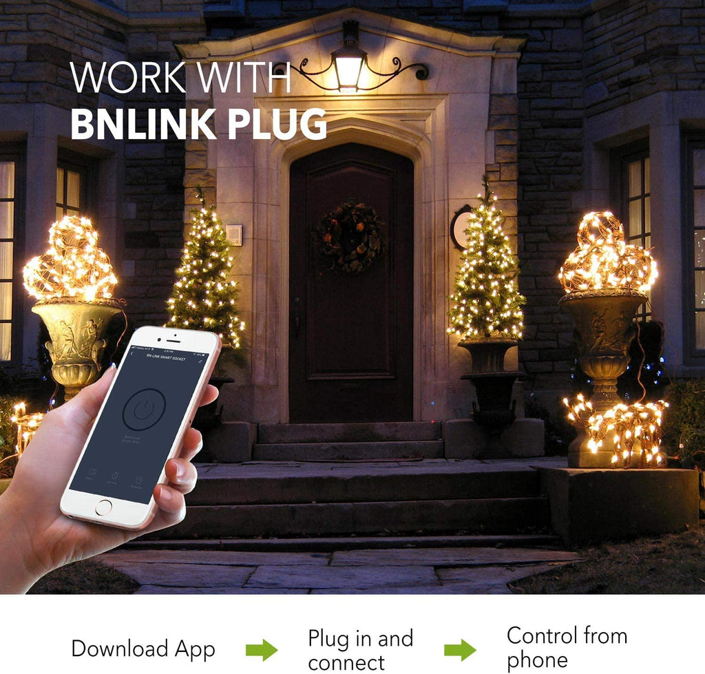BN-LINK Heavy Duty Dual Outlet Outdoor Smart WiFi Plug Timer Outlet Switch, Compatible with Alexa and Google Assistant 2.4 GHz Network only - BN-LINK