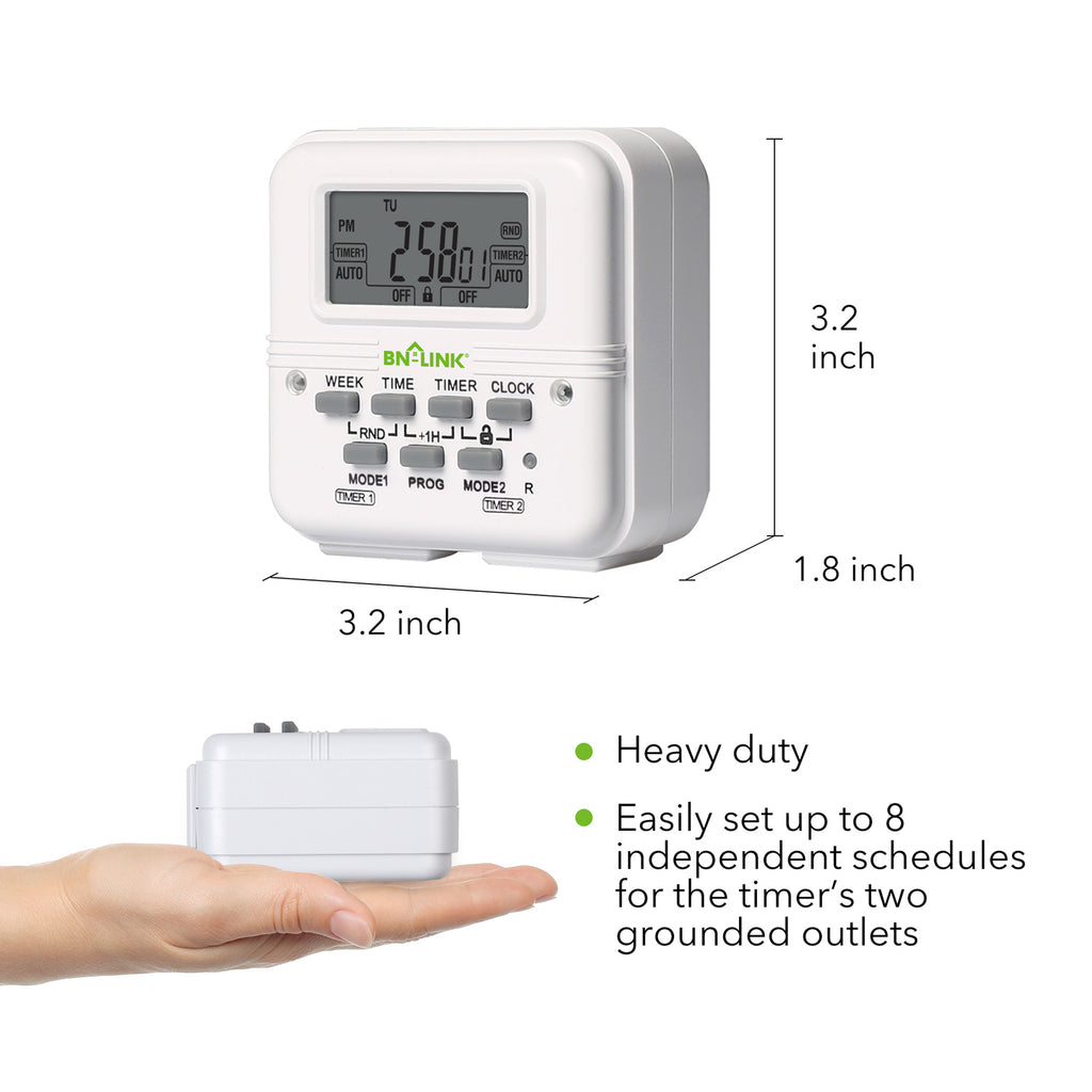 BN-LINK 7 Day Heavy Duty Digital Programmable Timer - Dual Outlet (Separate Control) - BN-LINK