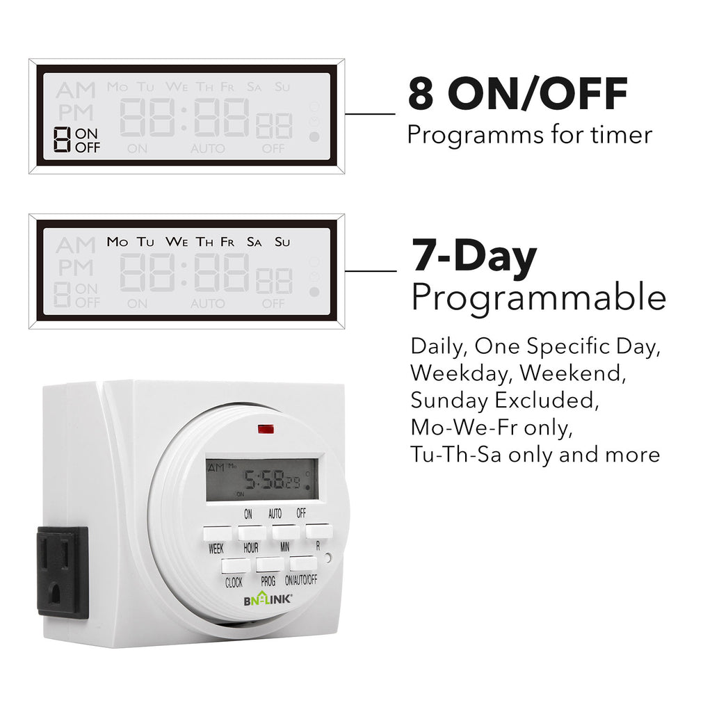 BN-LINK 7 Day Heavy Duty Digital Programmable Timer - Dual Outlet - BN-LINK