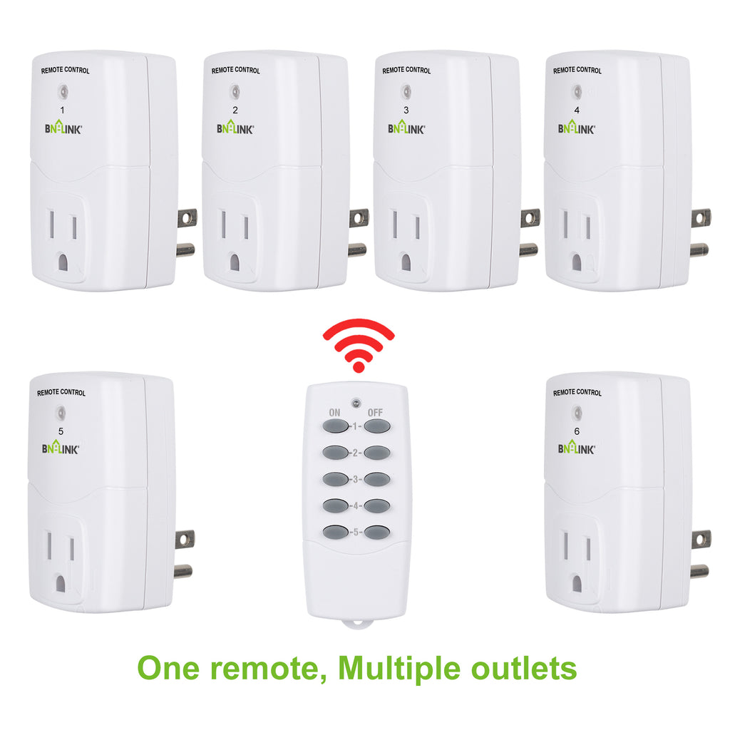 BN-LINK Mini Wireless Remote Control Outlet Switch Power Plug In for Household Appliances, Wireless Remote Light Switch,(2 Remotes + 5 Outlets)