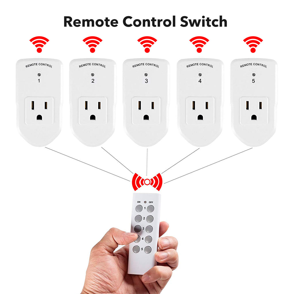 BN-LINK Wireless Remote Control Electrical Outlet Switch for Household Appliances, White (Learning Code, 5Rx-2Tx) - BN-LINK